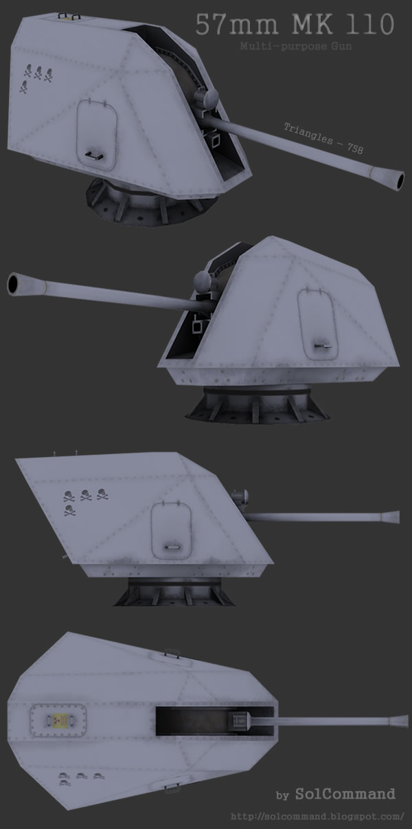 57, mm, 110, mk, gun, weapon, ship, space, scifi, sci-fi, sci fi, solcommand, 3d, model, download, free, quality, low poly, texture, map, obj, 3ds, game, ready, low-poly, high, low, poly, multi-purpose, small, caliber, large, bofors, salvo, original, mesh, author, 220, rounds, minute, mount, range, nine, miles, United States, Coast Guard's, National Security, Cutter, Zumwalt, class, destroyer, new, littoral, combat, ships, lethality, flexibility,  ammunition, smart, programmeable, fuse, mode, contact, delay, time, proximity
